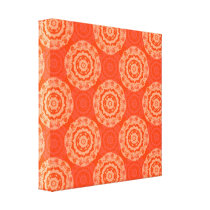 Bright Orange Pattern with Floral Circle Pattern Canvas Print
