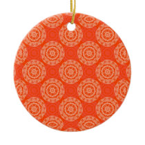 Bright Orange Pattern with Floral Circle Pattern Ceramic Ornament