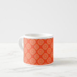 Bright Orange Pattern with Floral Circle Pattern Espresso Cup