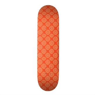 Bright Orange Pattern with Floral Circle Pattern Skateboard
