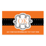 Bright Orange Personalized Initials Any Occupation Double-Sided Standard Business Cards (Pack Of 100)