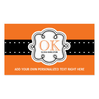 Bright Orange Personalized Initials Any Occupation Business Card