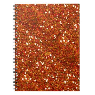 BRIGHT ORANGE RED TAN WHITE GLITTER-LIKE TILES TE NOTEBOOKS