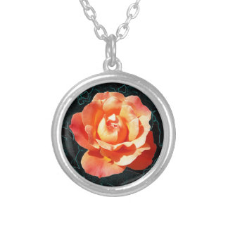 Bright orange rose silver plated necklace