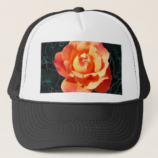 Bright orange rose trucker hat