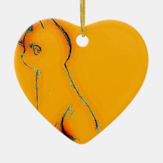 Bright Orange Sparkle Cat Design Ceramic Ornament