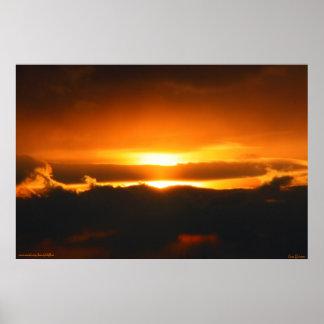 Bright Orange Sunset in the Clouds Print