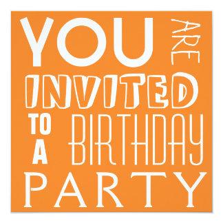 Bright Orange Teen Birthday Party Typography Card