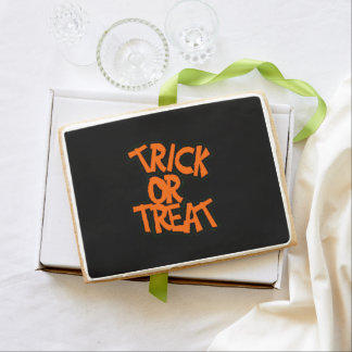 Bright Orange Trick Or Treat Shortbread Cookie