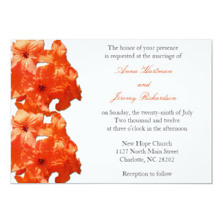Bright Orange Tropical Flower Wedding Invitations