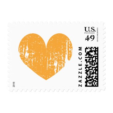 Beach Themed Bright orange vintage heart design wedding stamps
