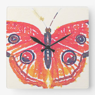 Bright Orange Watercolor Butterfly Moth Square Wall Clock