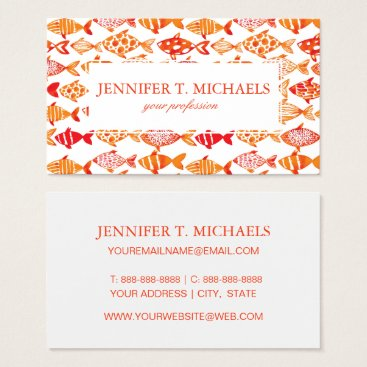 Beach Themed Bright Orange Watercolor Fish Pattern Business Card