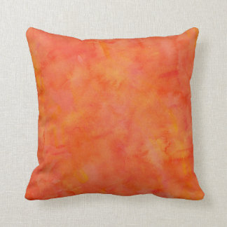 Bright Orange Watercolor Texture Pattern Pillows