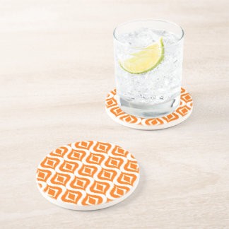 Bright Orange White Retro Chic Ikat Drops Pattern Drink Coaster