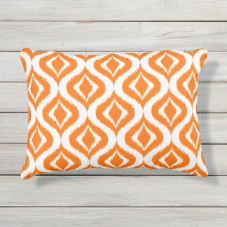 Bright Orange White Retro Chic Ikat Drops Pattern Outdoor Pillow