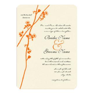 Bright Orange Wild Flower Branch Wedding Card