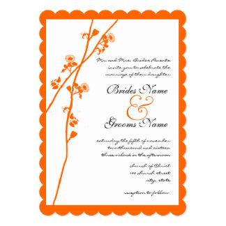 Bright Orange Wild Flower Branch Wedding Invite