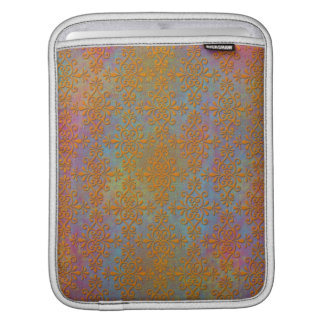 Bright Orange Yellow Gold Damask Abstract Art Sleeve For iPads