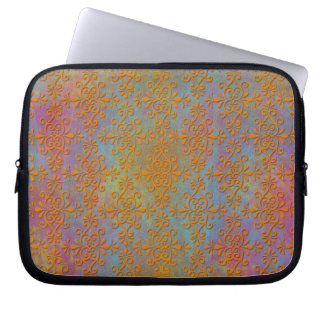 Bright Orange Yellow Gold Damask Abstract Art Laptop Computer Sleeves