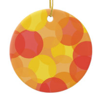 Bright Orange, Yellow & Red Pattern Ceramic Ornament