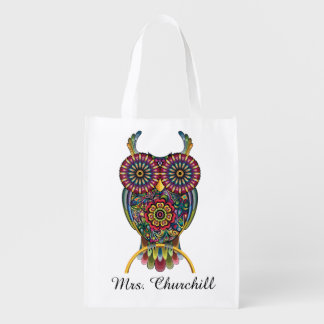 Bright Owl and Apple Grocery, Gift, Favor Bag Reusable Grocery Bag