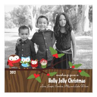 Bright Owl Christmas Holiday Cards Custom