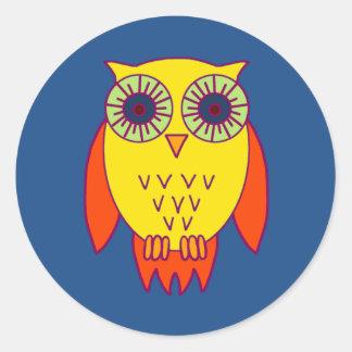Bright Owl Classic Round Sticker