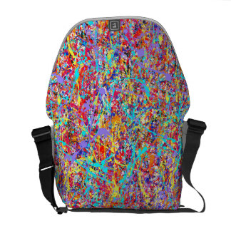 Bright Paint Splatter Abstract Courier Bag