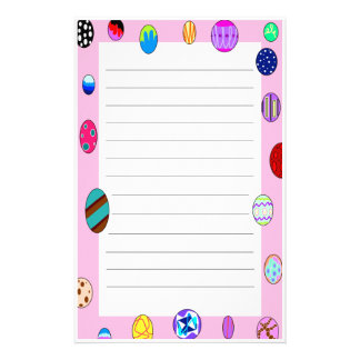Bright Painted Egg Border Lined Easter Stationery