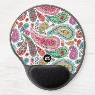 Bright Paisley Colorful   Monogram   Mousepad