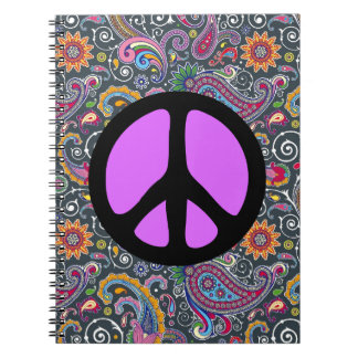 Bright Paisley on Flat Black Spiral Note Book