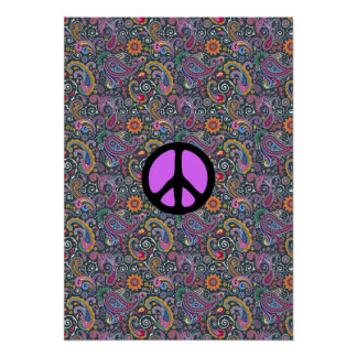 Bright Paisley on Flat Black Poster
