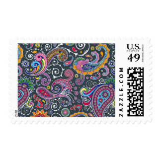 Bright Paisley on Flat Black Stamp