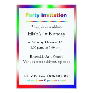 "Bright Party Invitation 5"" X 7"" Invitation Card"