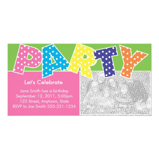 Bright Party Invitation Photo Card