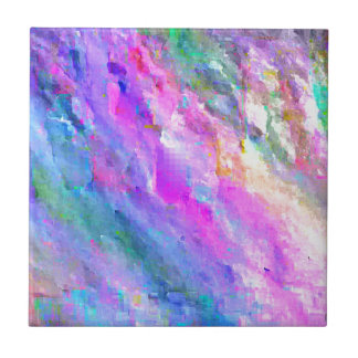 Bright Pastel Colors Abstract Monet like Pattern Ceramic Tile
