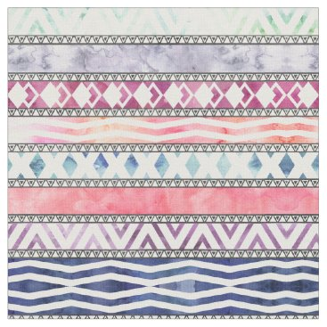 Aztec Themed Bright Pastel Watercolor Tribal Aztec Pattern Fabric