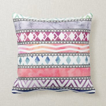 Aztec Themed Bright Pastel Watercolor Tribal Aztec Pattern Throw Pillow