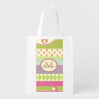 Bright Patchwork Pattern w/ Name and Monogram Reusable Grocery Bag