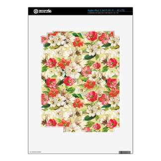 Bright pattern with beige and red flowers iPad 3 decal