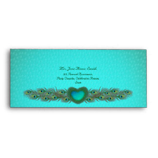 Bright peacock feather pattern #10 envelopes