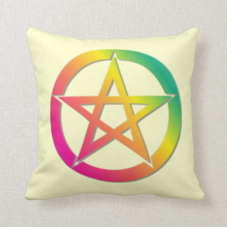 Bright pentacle throw pillow