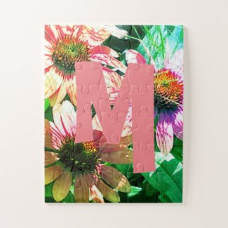 Bright Personalized Floral Monogram Jigsaw Puzzle