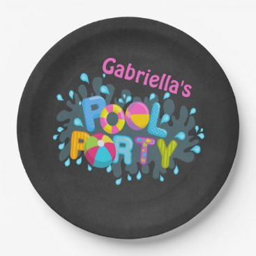 Beach Themed Bright  Personalized Pool Party Paper Plates