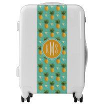 Bright Pineapples On Geometric Pattern | Monogram Luggage