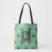 Bright Pineapples On Geometric Pattern | Monogram Tote Bag