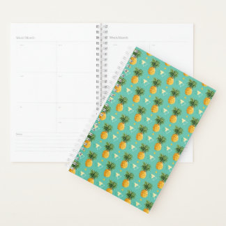 Bright Pineapples On Geometric Pattern Planner