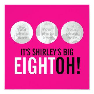 Bright pink 80th EIGHTOH! photo birthday invite
