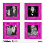 Bright pink abstract pattern photo frames wall decal